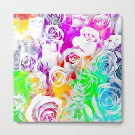 rose texture abstract  with colorful painting abstract background in pink blue green red yellow purp Metal Print