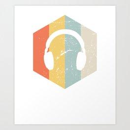 Retro Headphones, ASMR Gift Art Print