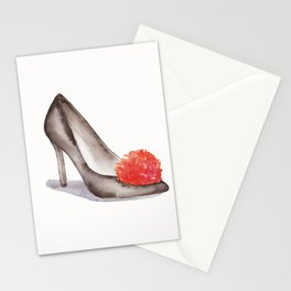Highheels shoes with Red Pompom Watercolor Painting by #MahsaWatercolor Stationery Cards