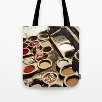 fez Tote Bags featuring Tanneries Fez, Morocco by ZenzPhotography