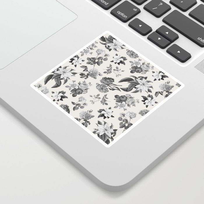 Vintage flowers on cream blackground Sticker