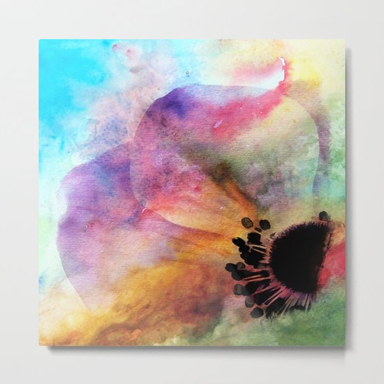 Abstract anemone one colorful  watercolor Metal Print