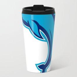 Blue Dolphin Jumping Retro Travel Mug