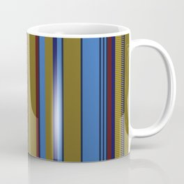 Vertical Stripes # 1 in bright blue, ocher and red Coffee Mug