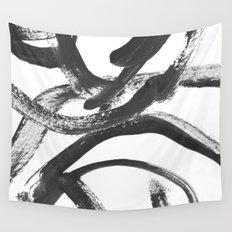 Interlock black and white paint swirls Wall Tapestry