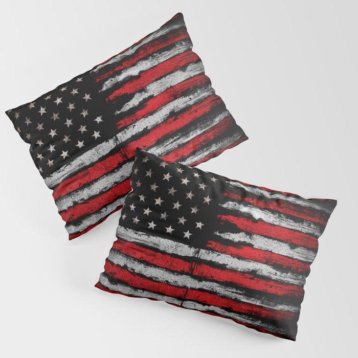 Red & white Grunge American flag Pillow Sham