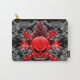Red Fire Skull with Tribal Tattoos Carry-All Pouch