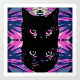 Black Cat Rising Art Print