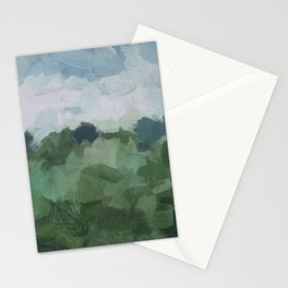 Sky Blue and Sage Green Abstract Painting, Modern Wall Art Print, Rural Country Farm Rustic Stationery Cards