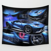 ford Wall Tapestries featuring 2015 Ford GT by Andrew Sliwinski
