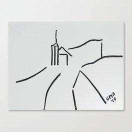 A Minimalist Charcoal Drawing of Una Vista de Ardales, Andalucia, Spain Canvas Print