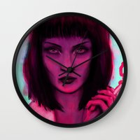 mia wallace Wall Clocks featuring Mia by Thiago García