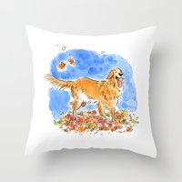 golden retriever Throw Pillows featuring Golden Retriever  by Renee Kurilla