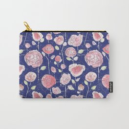 Empress Roses Watercolour Pattern - Navy  Carry-All Pouch