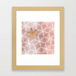 Elegant Geometric Gold Snowflakes Holiday Pattern Framed Art Print