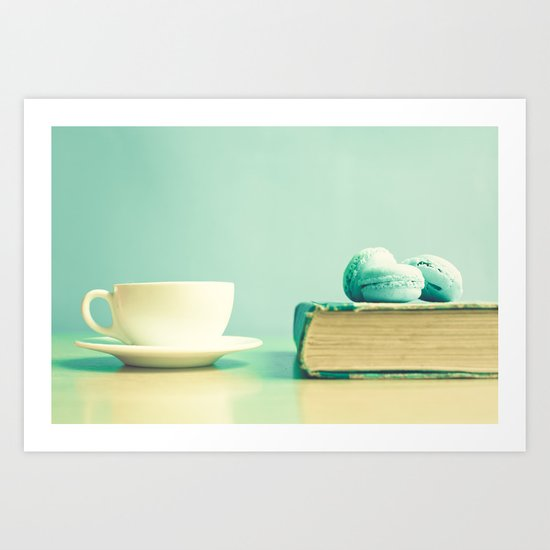 Mint reading and relaxing Art Print