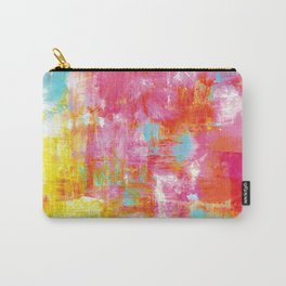 OFF THE GRID 2 Colorful Pink Pastel Neon Abstract Watercolor Acrylic Textural Art Painting Rainbow Carry-All Pouch