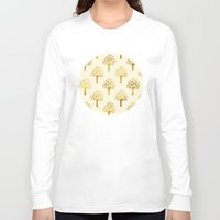 gold foil Long Sleeve T-shirts featuring Cream Gold Foil 02 by Aloke Design