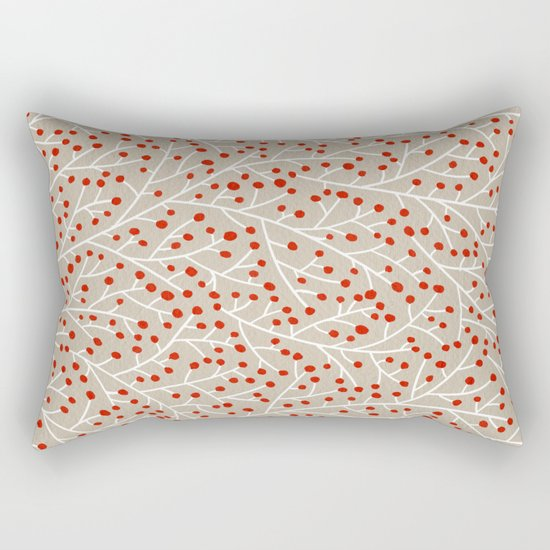 Red & White Berry Branches Rectangular Pillow