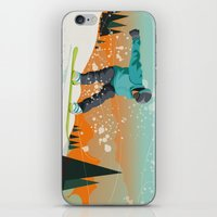 snowboard iPhone & iPod Skins featuring Snowboard Jump by Park City Posters