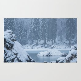 Heavy snow fall lake Fusine, Italy Rug