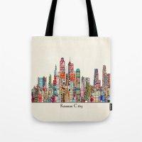 kansas city Tote Bags featuring kansas city Missouri skyline by bri.buckley