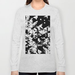 Splatter Triangles - Black and white, abstract, paint splat, triangular pattern Long Sleeve T-shirt