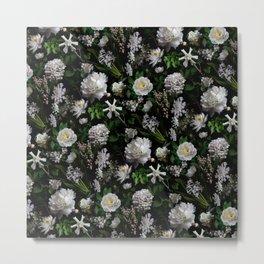 Midnight Garden Moody Florals  Metal Print