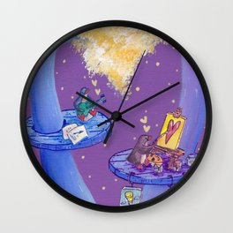 Penguin Music Maker and Painter in their Creative Tree Home Wall Clock
