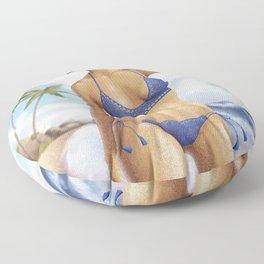 Afro girl bikini Floor Pillow