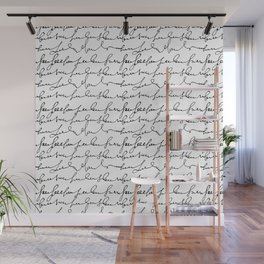 Vintage simple black white typography pattern  Wall Mural
