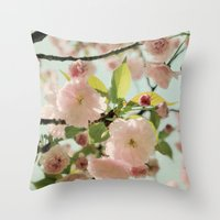 blush Throw Pillows featuring Blush by Bella Blue Photography