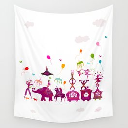 colorful circus carnival traveling in one row on white background Wall Tapestry