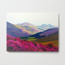 Beautiful Candy Land Fairytale Fantasy Landscape Purple pink Flowers Rolling Hills Moutains Metal Print