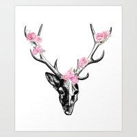 Stag & Flowers Art Print