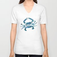 maryland V-neck T-shirts featuring Maryland Blue Crab Local by O'Postrophy