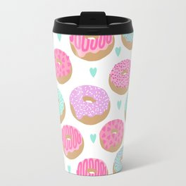 Donut hearts pastel colors love happy hipster foodie funny valentines day Travel Mug