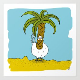 Eglantine la poule (the hen) dressed up as a palm Art Print