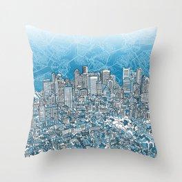 boston city skyline Throw Pillow