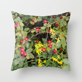 Flower and Berries Throw Pillow