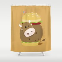 burger Shower Curtains featuring Burger by vainuidecastelbajac