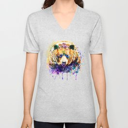 Colorful Grizzly Bear Unisex V-Neck