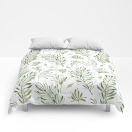 Hand painted forest green white watercolor leaves floral Comforters
