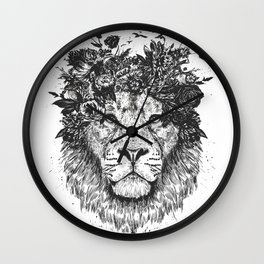 Floral lion (b&w) Wall Clock