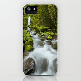I - Remote waterfall in lush rainforest, Columbia River Gorge, Oregon, USA iPhone Case