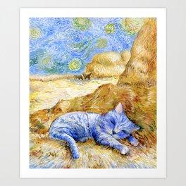 Cat. Inspired By Van Gogh Art Print