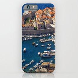 Cities Croatia Bay Pier Coast Motorboat Dubrovnik Building From above Berth Marinas speedboat powerboat Houses iPhone Case