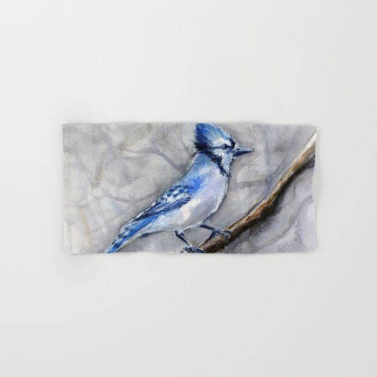 Blue Jay Watercolor Bird Hand & Bath Towel