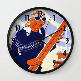 Yosemite Winter Sports Travel Wall Clock
