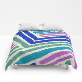 Color Lines Connections / Abstract Brushstrokes Pattern Comforters